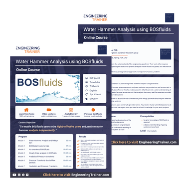 Course Brochure for Water Hammer Analysis using BOSfluids