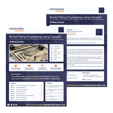 Course Brochure for Buried Piping Engineering using CaesarII